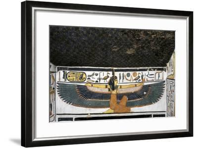 Egypt, Tomb of Nefertari, Mural Paintings of Goddess Ma'At with Spread Wings in Burial Chamber--Framed Giclee Print