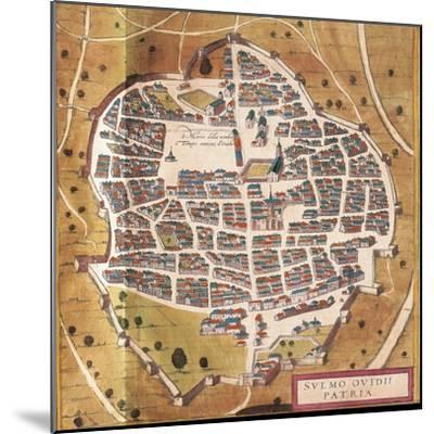 Italy, Sulmona, the City of Sulmona from Civitates Orbis Terrarum--Mounted Giclee Print