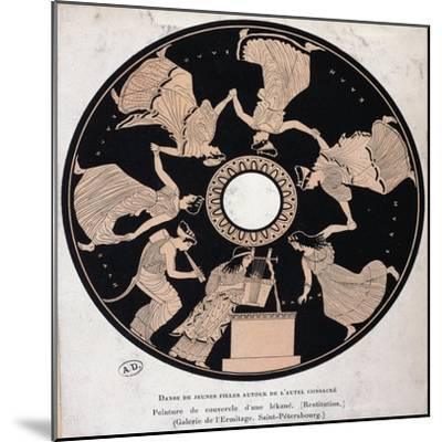 Scene of Young Women Dancing from the Lid of Vase, Red-Figure Pottery--Mounted Giclee Print