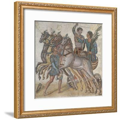 Mosaic Work Depicting a Chariot Race--Framed Giclee Print