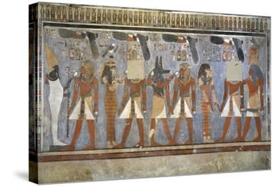 Egypt, Tomb of Amenhotep III, Mural Paintings of Pharaoh and Ma'at in Burial Chamber--Stretched Canvas Print