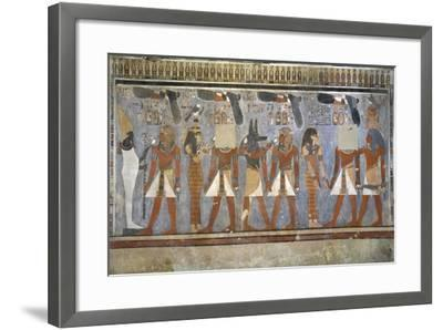 Egypt, Tomb of Amenhotep III, Mural Paintings of Pharaoh and Ma'at in Burial Chamber--Framed Giclee Print
