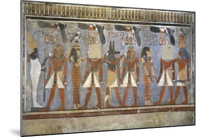 Egypt, Tomb of Amenhotep III, Mural Paintings of Pharaoh and Ma'at in Burial Chamber--Mounted Giclee Print