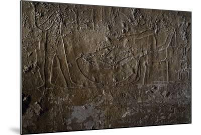 Fish Seller, Relief, Processional Ramp of Pyramid of Unas, Saqqara--Mounted Photographic Print