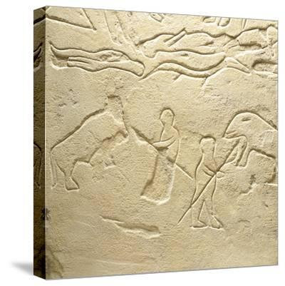 Propitiatory Stela, Carved Sandstone from Novilara, Marche, Italy, Detail of Scene of Bear Hunt--Stretched Canvas Print