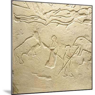 Propitiatory Stela, Carved Sandstone from Novilara, Marche, Italy, Detail of Scene of Bear Hunt--Mounted Giclee Print