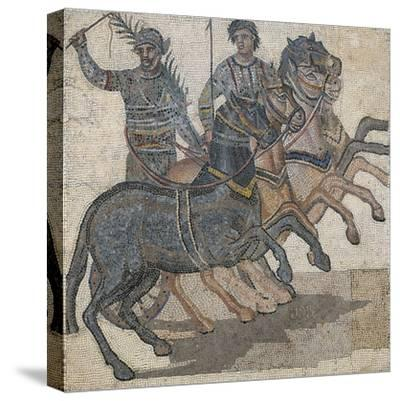 Imperial-Age Mosaic Depicting Chariot Race, 3rd Century--Stretched Canvas Print