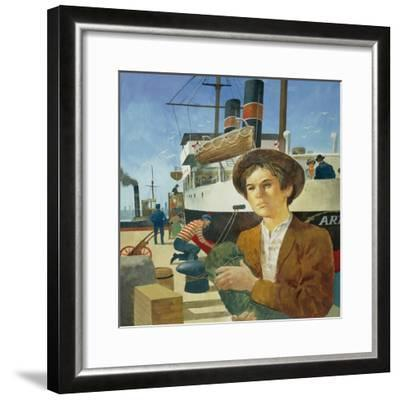 Illustration Representing Boy in a Port from 'Heart' by Edmondo De Amicis--Framed Giclee Print