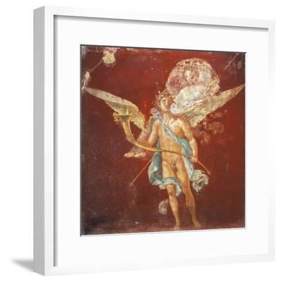 Fresco Depicting Winged Genius Carrying Woman on His Shoulders, from House of Naviglio--Framed Giclee Print