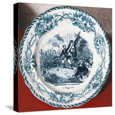 Dish with Scene of Battle of Palestro, May 31, 1859, Ceramics--Stretched Canvas Print