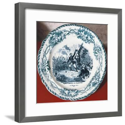 Dish with Scene of Battle of Palestro, May 31, 1859, Ceramics--Framed Giclee Print
