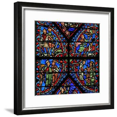 Window W2 Depicting the Magi with Herod, Annunciation to the Shepherds--Framed Giclee Print