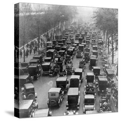 The Great Trek to Work During the General Strike: the Embankment--Stretched Canvas Print