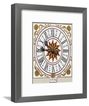 Sundial on Bell Tower of Church of St Lawrence, 16th Century, Sover, Trentino-Alto Adige, Italy--Framed Giclee Print