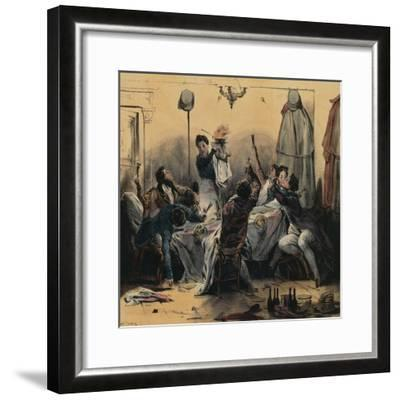 How Young Men Do their Duty in Paris, Caricature--Framed Giclee Print