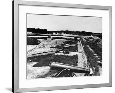 View of Artillery in Fort Carroll Outside Washington, D. C., C.1865--Framed Photographic Print