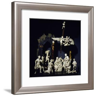 Nativity and Adoration of Shepherds, Tyrolean Nativity Scene with Figurines in Ivory and Tortoise--Framed Giclee Print