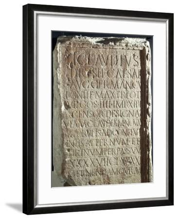Military Cippus with Inscriptions, from Via Claudia Nova--Framed Giclee Print