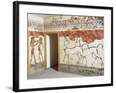 Greek Civilizationes Depicting Antelopes and Young Boxers, from Akrotiri, Thera, Santorini, Greece--Framed Giclee Print