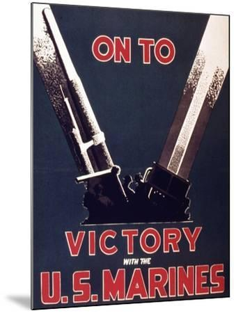 On to Victory with the Us Marines, 1944--Mounted Giclee Print