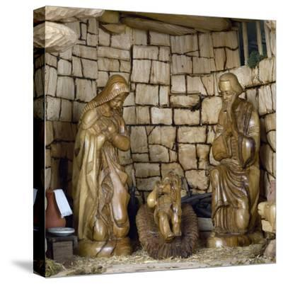 Nativity, Nativity Scene with Olive Wood Figurines, Palestine--Stretched Canvas Print