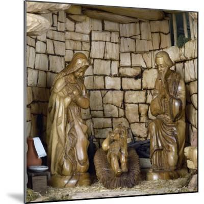 Nativity, Nativity Scene with Olive Wood Figurines, Palestine--Mounted Giclee Print