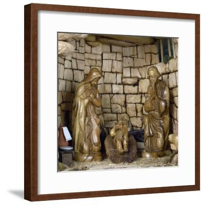 Nativity, Nativity Scene with Olive Wood Figurines, Palestine--Framed Giclee Print