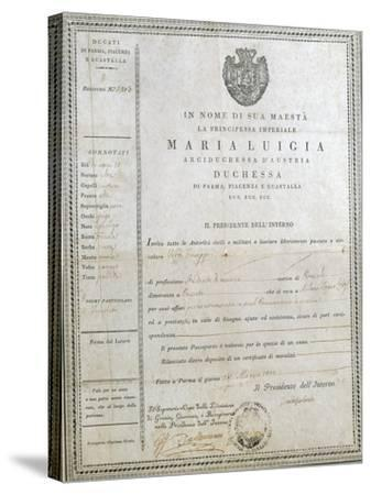 Italy, Milan, First Passport of Giuseppe Verdi--Stretched Canvas Print