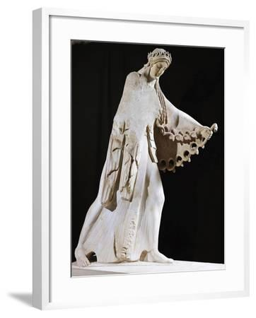 Marble Statue of Athena from East Pediment of Temple of Athena Polis Depicting Gigantomachy--Framed Giclee Print