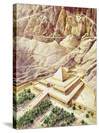 Ancient Egypt, Thebes, Deir El-Bahri, Reconstructed Temple of Hatshepsut--Stretched Canvas Print