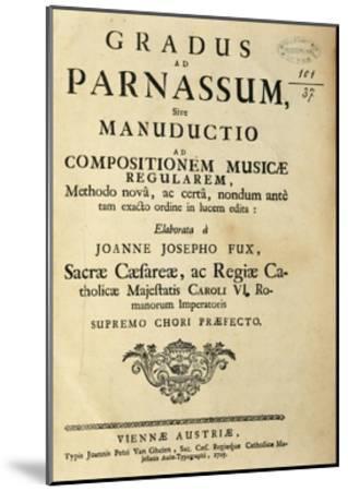 Austria, Johann Joseph Fux, Frontispiece of Gradus Ad Parnassum, 1725--Mounted Giclee Print