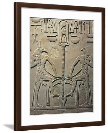 Pharaoh Sesostris I Statue, Details from Throne Depicting Horus and Seth, from Al Lisht, Egypt--Framed Giclee Print