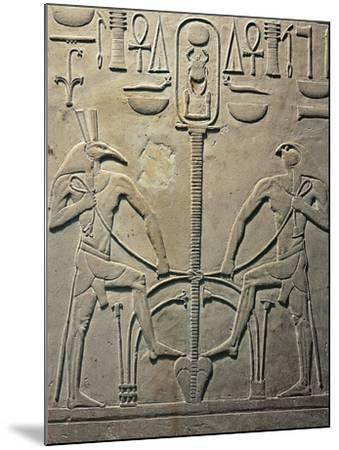 Pharaoh Sesostris I Statue, Details from Throne Depicting Horus and Seth, from Al Lisht, Egypt--Mounted Giclee Print