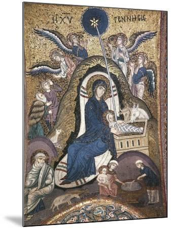 Nativity, Byzantine Mosaic Work, Church of La Martorana, Palermo, Sicily, Italy--Mounted Giclee Print