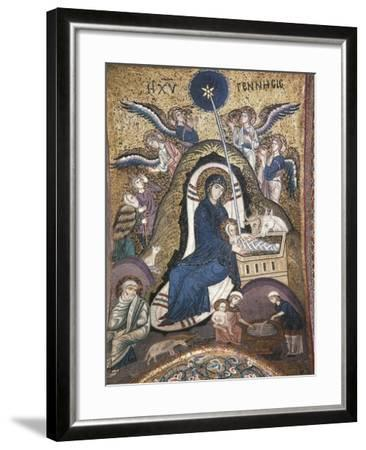 Nativity, Byzantine Mosaic Work, Church of La Martorana, Palermo, Sicily, Italy--Framed Giclee Print