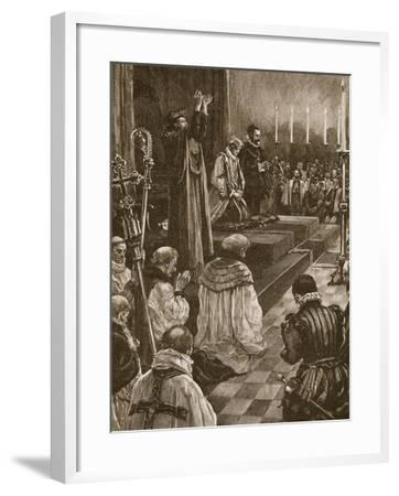 Cardinal Pole Reconciling the Realm of England to the Roman Communion--Framed Giclee Print