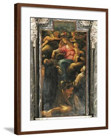 Our Lady of Rosary with St Dominic and St Catherine of Siena--Framed Giclee Print