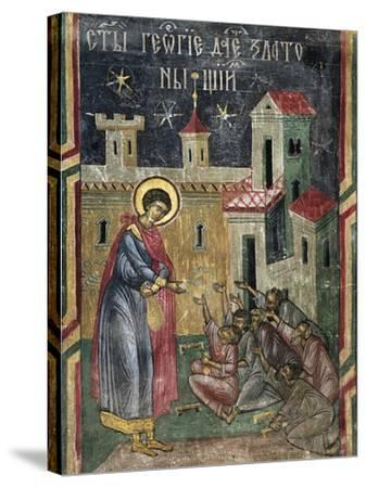 Romania, Sucevita Monastery Depicting St George Giving Alms, Detail from Life of St George--Stretched Canvas Print