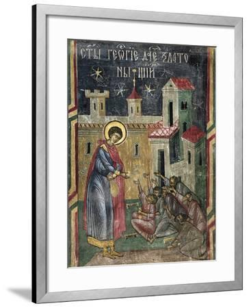 Romania, Sucevita Monastery Depicting St George Giving Alms, Detail from Life of St George--Framed Giclee Print