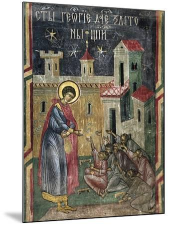 Romania, Sucevita Monastery Depicting St George Giving Alms, Detail from Life of St George--Mounted Giclee Print