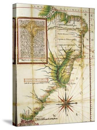 Portuguese Map Showing the Coast of Brazil at Cape of San Augustin Near the Straits of Magellan--Stretched Canvas Print