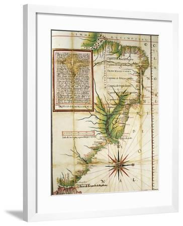 Portuguese Map Showing the Coast of Brazil at Cape of San Augustin Near the Straits of Magellan--Framed Giclee Print