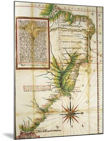 Portuguese Map Showing the Coast of Brazil at Cape of San Augustin Near the Straits of Magellan--Mounted Giclee Print