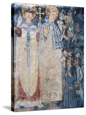 Priests, Fresco in Courtyard of Fenis Castle--Stretched Canvas Print