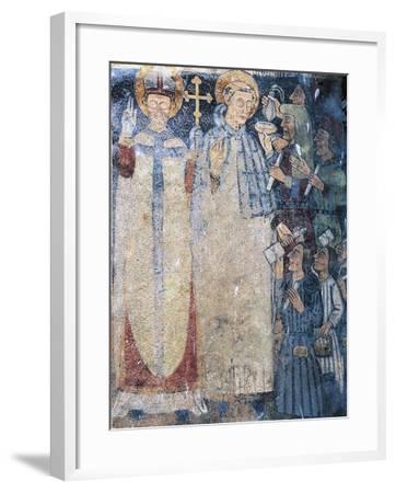 Priests, Fresco in Courtyard of Fenis Castle--Framed Giclee Print