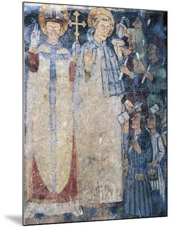 Priests, Fresco in Courtyard of Fenis Castle--Mounted Giclee Print