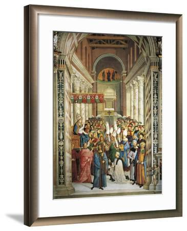 Italy, Siena, Cathedral, Piccolomini Library, Coronation of Pope Pius II--Framed Giclee Print