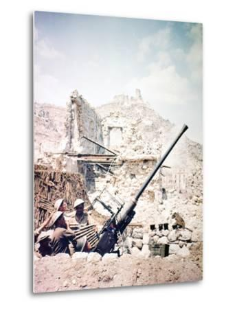 British Soldiers with a Bofors 40MM Anti-Aircraft Gun Below Monte Cassino, Italy, April 1944--Metal Print