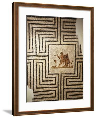 Tunisia, Thuburbo Majus, Mosaic Work Depicting Theseus Against the Minotaur in the Labyrinth--Framed Giclee Print