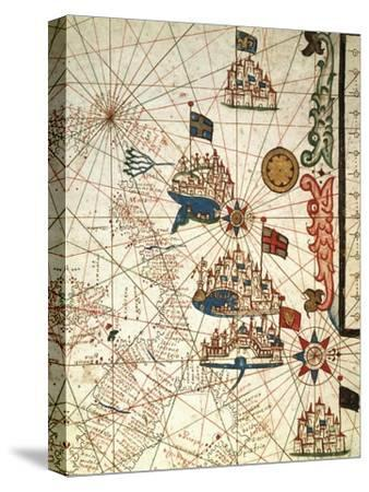 Portolan Chart Depicting the Cities of Venice, Genoa and Marseille--Stretched Canvas Print